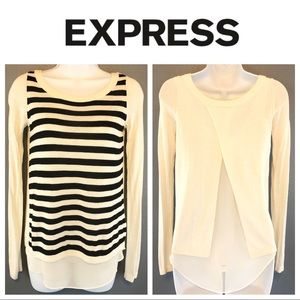 Express Split Back Striped Pullover Sweater